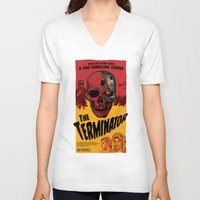terminator V-neck T-shirts featuring The Terminator by Vaughany