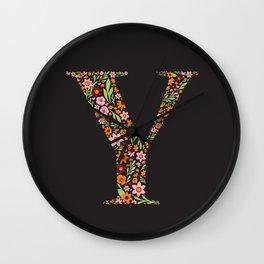 Retro Floral Letter Y Wall Clock