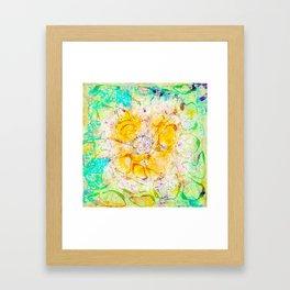 Watercolor Flower Painting, Modern Abstract  Bloom in Orange & Lime Green Framed Art Print