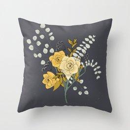 Eucalyptus and Freesia Florals Throw Pillow