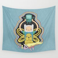 bmo Wall Tapestries featuring Time for Adventure with Finn, Jake, BMO, and Lady Rainicorn by MattBlanksArt