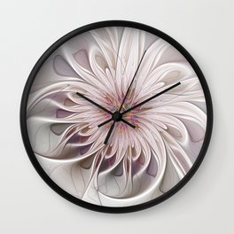 Floral Beauty, Abstract Fractal Art Wall Clock