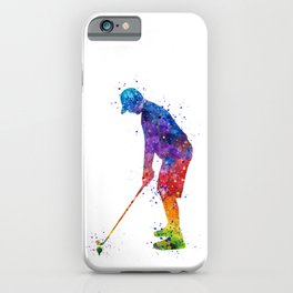 Boy Golf Player Colorful Waterolor iPhone Case