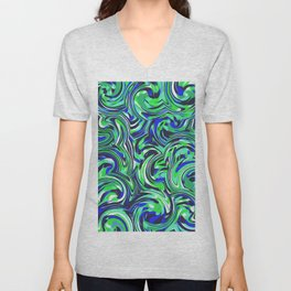psychedelic wave pattern abstract painting in green and blue Unisex V-Neck