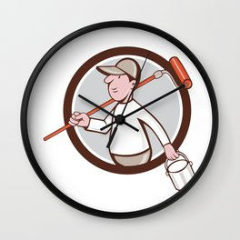 House Painter Paint Roller Can Circle Cartoon Wall Clock