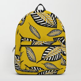 Beautiful Leaf Creations on Yellow Background #decor #society6 #buyart Backpack