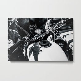 Details Of A Vintage Motorcycle Black White Metal Print