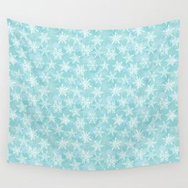 blue winter background with white snowflakes Wall Tapestry