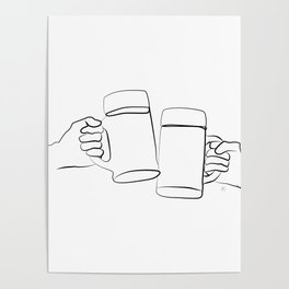 """"""" Kitchen Collection """" - Two Hands Holding Beer Glasses Poster"""