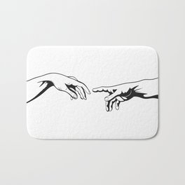 Adam and God hands Bath Mat