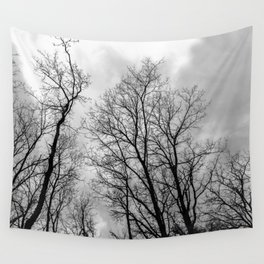Creepy black and white trees Wall Tapestry