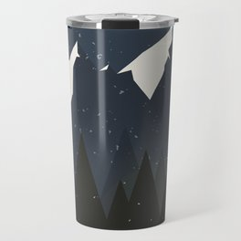 Mountains and Forest of Pine trees at night. Winter Landscape - Illustration Travel Mug