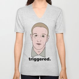 Mark Zuckerberg Looking Very Nervous Unisex V-Neck