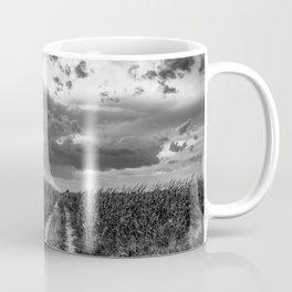 Road to Nowhere - Path in Cornfield Leads to Big Nebraska Sky in Black and White Coffee Mug