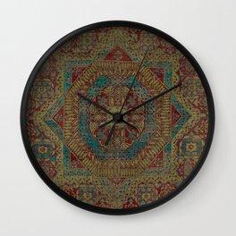 Mediterranean Medallion II // 15th Century Dark Colorful Kaleidoscope Sapphire Blue Red Rug Pattern Wall Clock