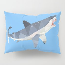 Low Poly Great White Shark Pillow Sham