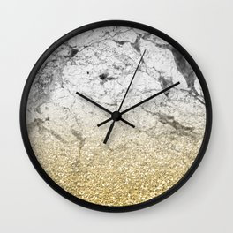 Amalfi golden ombre marble Wall Clock