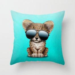 Cute Baby Cheetah Wearing Sunglasses Throw Pillow
