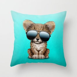 Cute Baby Cheetah Wearing Sunglasses Throw Pillow