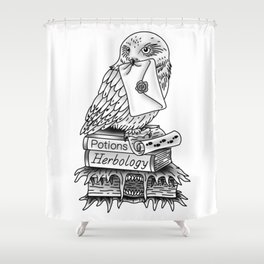 Hedwig On Books Shower Curtain