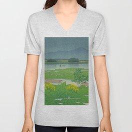 Kawase Hasui Vintage Japanese Woodblock Print Flooded Asian Rice Field Mountain Parallax Landscape Unisex V-Neck