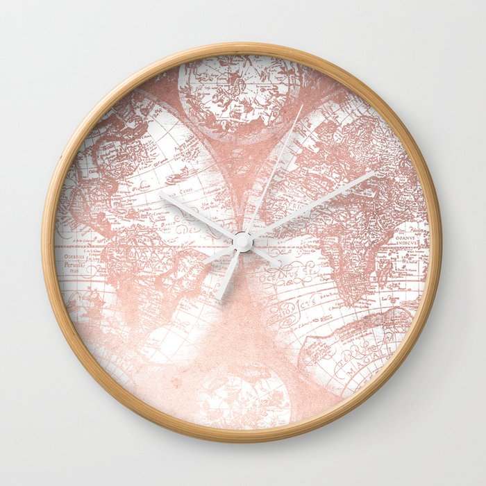 Rose gold pink antique world map by nature magick wall clock by rose gold pink antique world map by nature magick wall clock gumiabroncs Image collections