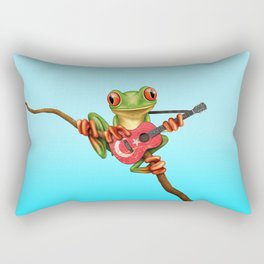 Tree Frog Playing Acoustic Guitar with Flag of Turkey Rectangular Pillow