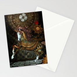 Steampunk,mystical steampunk unicorn Stationery Cards