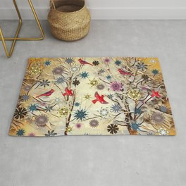 Winter Scene in Southwest Virginia (Snow, Cardinals & Snowflakes) Rug