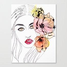 The Resting B*tch Face, floral design Canvas Print