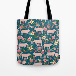 Pig florals farm homesteader pigs cute farms animals floral gifts Tote Bag
