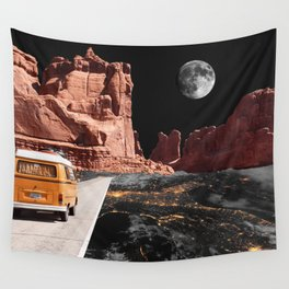 Collage, Car, Western, Moon, Creative, Nature, Modern, Trendy, Wall art Wall Tapestry
