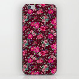 Burgundy Floral Thanksgiving , fall & winter floral in watercolor iPhone Skin