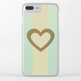 Big Gold Heart Pastel Green Yellow Romantic Love Clear iPhone Case