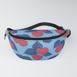 Raspberry on blue background Fanny Pack