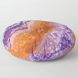 Clemson Orange and Purple Paint Pour Effect Floor Pillow