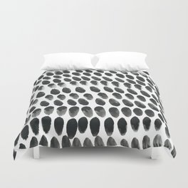 Black and White Abstract Watercolor Polka Dot Brushtrokes Painting Duvet Cover
