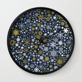 A Thousand Snowflakes in Twilight Blue Wall Clock