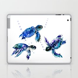 Three Sea Turtles, Marine Blue Aquatic design Laptop & iPad Skin