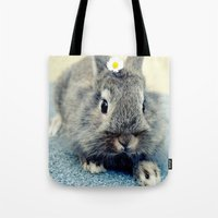 bunny Tote Bags featuring Bunny by Falko Follert Art-FF77