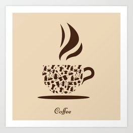 Coffee cup symbol with coffee pattern and text Art Print