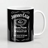 johnny cash Mugs featuring Cash by IIIIHiveIIII