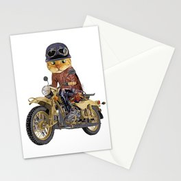 Cat riding motorcycle Stationery Cards