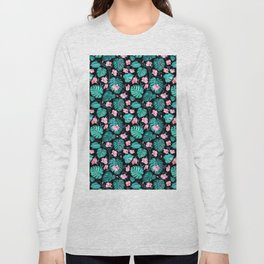 Tropical teal pink black vector floral pattern Long Sleeve T-shirt