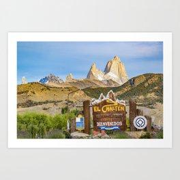 El Chalten Town Entrance, Patagonia - Argentina Art Print
