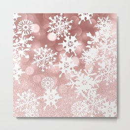 Winter white rose gold snowflakes glitter bokeh Metal Print