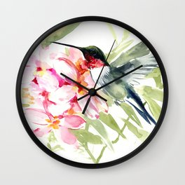Hummingbird and Plumeria Flowers Wall Clock