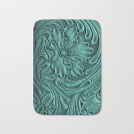 Teal Flower Tooled Leather Bath Mat