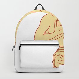 Gautama Buddha Sitting Lotus Position Drawing Backpack