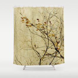 Nature Floral Print Collage in Warm Tones Shower Curtain